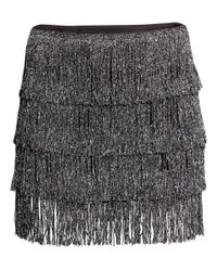 H&M | Gray Fringed Jersey Skirt | Lyst