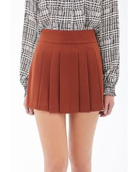 Forever 21 - Red Pleated Crepe Woven Skirt - Lyst