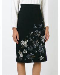 MSGM - Black Sequin Appliqué Pencil Skirt - Lyst