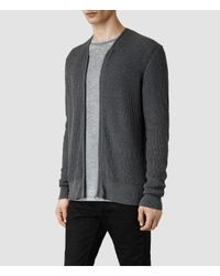 AllSaints | Gray Metz Cardigan for Men | Lyst