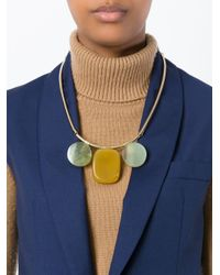 Marni | Metallic Three Stone Pendant Necklace | Lyst