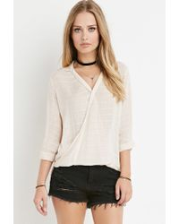 Forever 21 - White Tonal-stripe Twisted Hem Top - Lyst