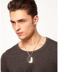 Emporio Armani - Metallic Dogtag Necklace for Men - Lyst