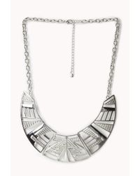 Forever 21 | Metallic Tribal Pattern Bib Necklace | Lyst