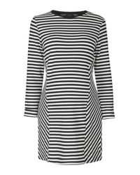 TOPSHOP - Black Maternity Stripe Sweatshirt Dress - Lyst