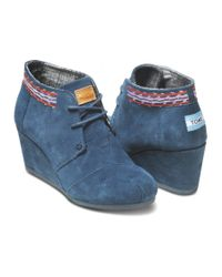 TOMS - Blue Navy Embroidered Desert Wedges - Lyst