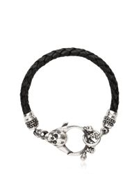 John Richmond | Black Braided Leather & Skull Bracelet for Men | Lyst