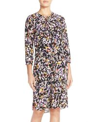NYDJ | Multicolor 'lauren' Pleat Back Georgette Shirtdress | Lyst