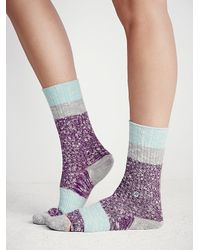 Free People | Purple Stance Womens Bear Crew Sock | Lyst