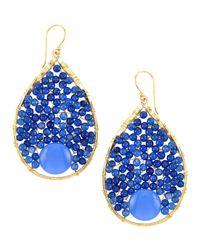 Panacea - Blue Wire-Wrapped Beaded Hoop Earrings - Lyst