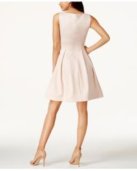 Calvin Klein | Pink Boat-neck Fit & Flare Scuba Dress | Lyst