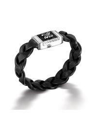 John Hardy | Large Rectangular Bracelet On Braided Black Leather for Men | Lyst