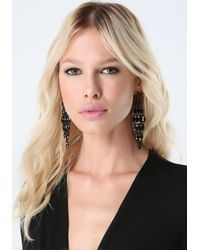 Bebe | Black Tonal Tiered Earrings | Lyst