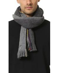 Paul Smith | Gray Rainbow Stripe End Scarf for Men | Lyst