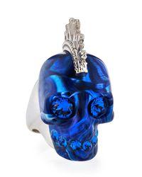 Alexander McQueen | Metallic Plexi Punk Skull Ring Bluesilvertone for Men | Lyst