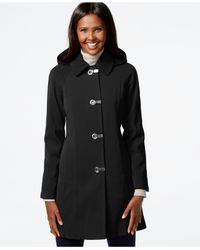London Fog | Black Hooded Clip-front Jacket | Lyst