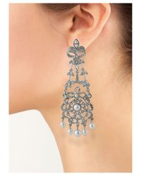 Kenneth Jay Lane | Metallic White Pearl Drops Chandelier Earring | Lyst