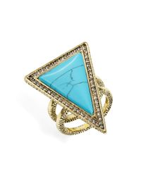 House of Harlow 1960 | Blue Triangle Double Band Ring | Lyst
