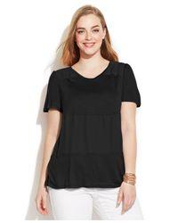 INC International Concepts - Black Plus Size Mixed-Media Tee - Lyst