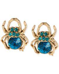 Betsey Johnson - Gold-tone Blue Stone Spider Stud Earrings - Lyst