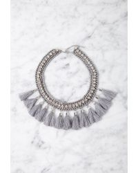 Forever 21 - Gray Tasseled Rhinestone Statement Necklace - Lyst