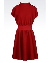 Emporio Armani - Red Dress In Virgin Wool - Lyst