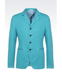 Armani | Blue Jacket In Linen And Cotton for Men | Lyst