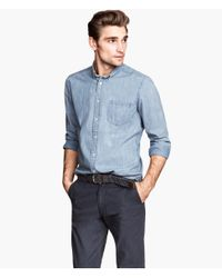 H&M - Blue Chambray Shirt for Men - Lyst