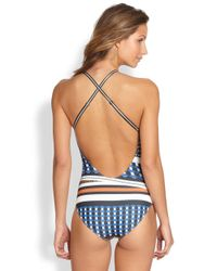 Clover Canyon | Blue One-Piece Twist-Scarf Swimsuit | Lyst