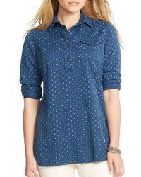 Lauren by Ralph Lauren - Blue Dotted Tunic Shirt - Lyst
