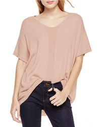 Two By Vince Camuto | Pink Cropped-front Mixed-mediatop | Lyst