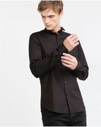 Zara | Black Shirt With Tuxedo Collar for Men | Lyst