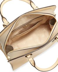 Tory Burch - Natural Robinson Colorblock Curved Satchel Bag - Lyst