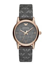 Emporio Armani - Gray Logo Pvc Strap Watch - Lyst