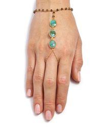 Ela Rae | Green 'clara' Semiprecious Stone Hand Chain - Smokey Quartz/ Emerald/ Gold | Lyst