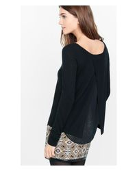 Express | Black Crepe Lined Split Back Sweater | Lyst