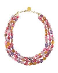 Devon Leigh - Pink Threestrand Beaded Berry Quartz Necklace - Lyst