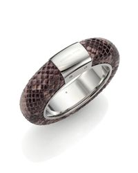 Michael Kors | Metallic Runway Python-embossed Leather Statement Bangle Bracelet | Lyst