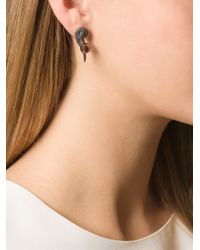 Elise Dray - Black Diamond Wing Earrings - Lyst