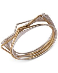 Lucky Brand | Metallic Two-tone Bangle Bracelet Set | Lyst