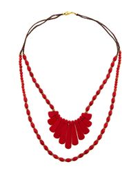 Panacea - Red Two-strand Beaded Howlite Necklace - Lyst