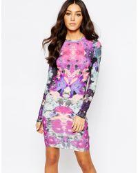 Girls On Film | Pink Body-conscious Dress In Digital Mirror Print | Lyst