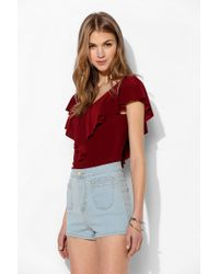 Pins And Needles | Red Ruffle Vneck Top | Lyst