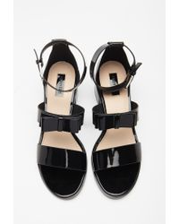 Forever 21 | Black Faux Leather Bow Sandals | Lyst