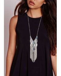 Missguided - Metallic Tassel Trim Layered Bar Necklace Silver - Lyst