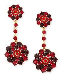 Oscar de la Renta - Red Crimson Crystal Drop Clip-on Earrings - Lyst