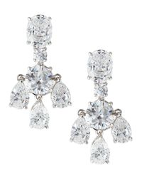 Fantasia by Deserio | White Cascading Cz Dangle & Drop Earrings | Lyst