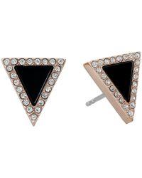 Michael Kors | Metallic Semi Precious Onyx Triange Stud Earrings | Lyst