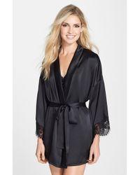 Hanky Panky Black 'lady Catherine' Silk Satin Robe