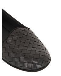 Bottega Veneta | Black Intrecciato Woven Leather Slippers | Lyst